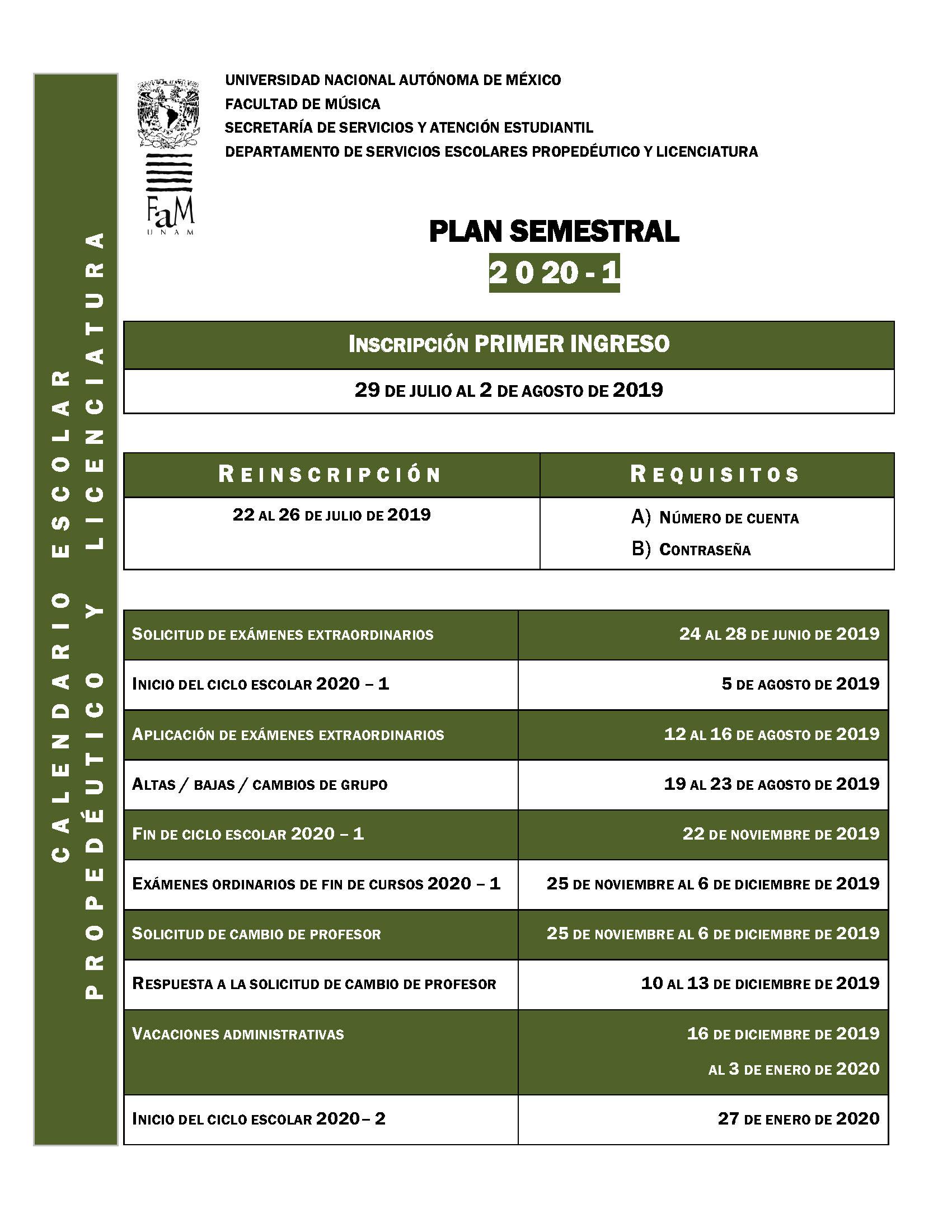 Calendario Julio Y Agosto 2020.Ventanilla Virtual Facultad De Musica Fam Unam